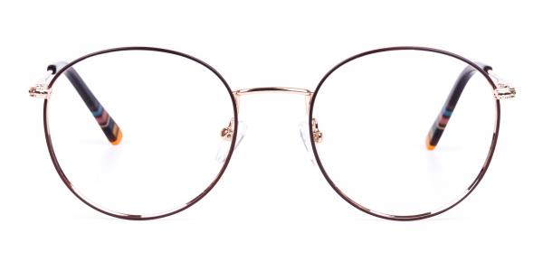Brown Gold Round Full Rim Glasses