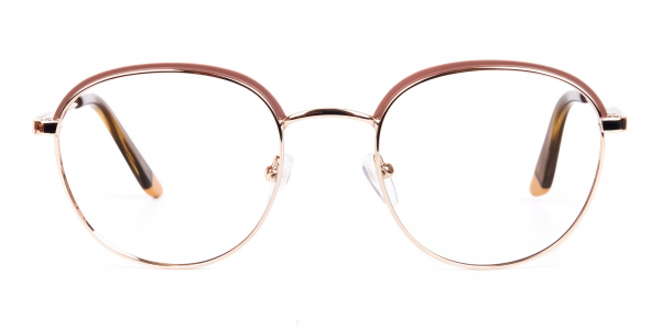 Brown Gold Round Aviator Glasses
