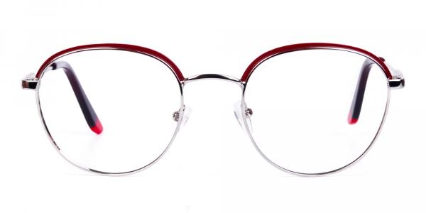 Burgundy Silver Round Aviator Glasses