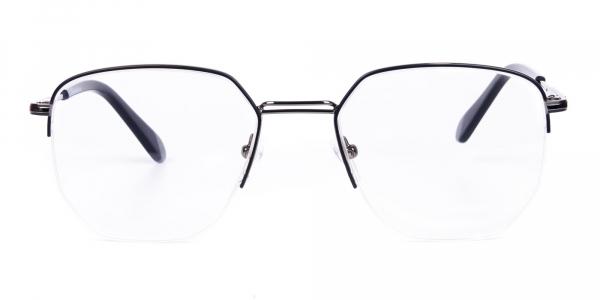 Black Gunmetal Geometric Aviator Glasses
