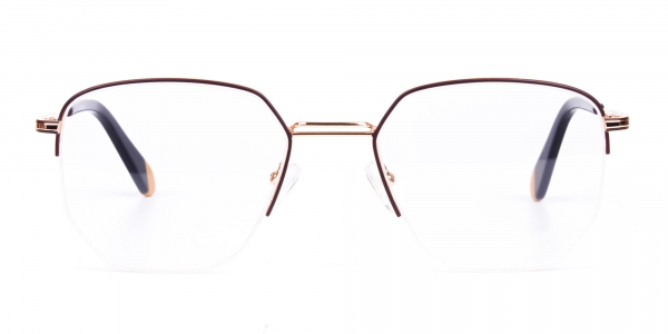 Brown Gold Geometric Aviator Glasses