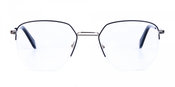 Black Silver Geometric Aviator Glasses
