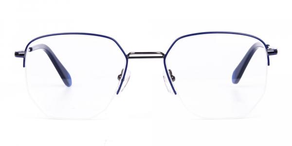 Navy Blue Gunmetal Geometric Aviator Glasses