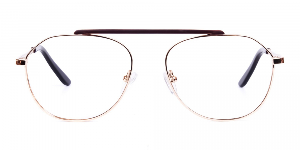 Brown Gold Aviator Glasses