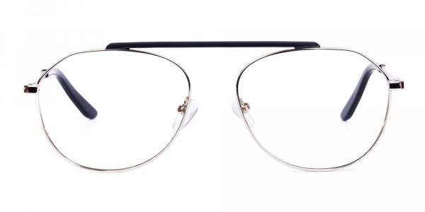 Black Silver Aviator Glasses