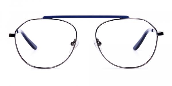 Royal Blue Gunmetal Aviator Glasses