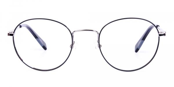 Stylish Black Silver Round Glasses