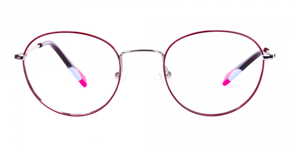 Stylish Burgundy and Silver Round Glasses