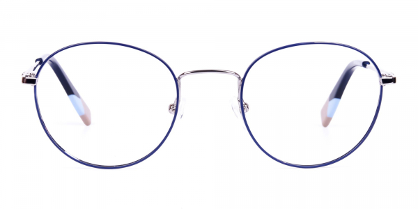 Dark Navy Blue and Silver Round Glasses