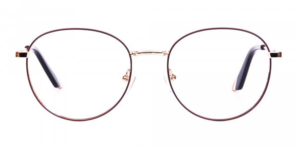 Stylish Brown and Gold Round Glasses