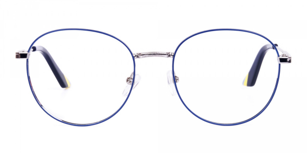Navy Blue and Silver Metal Round Glasses