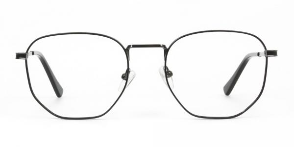 Lightweight Gunmetal Black Geometric Glasses