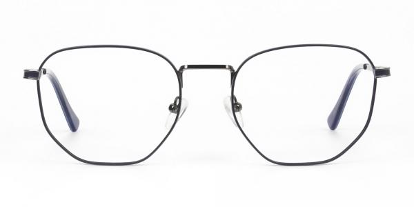 Lightweight Silver & Blue Geometric Glasses