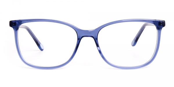 crystal clear and transparent blue wayfarer cateye glasses frames