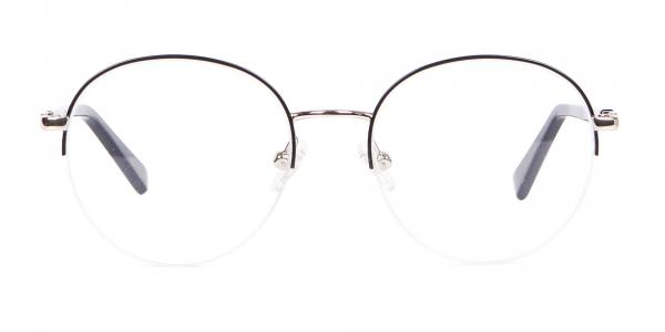 Premium Half Rimmed Frame Silver