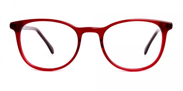 Wine Red Translucent Round Glasses Frames
