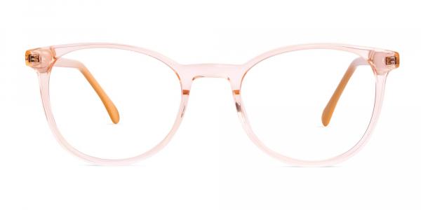 transparent orange Color Round Glasses Frames