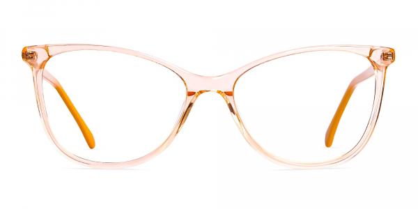 Crystal Clear or Transparent orange Colour Cat eye Glasses Frames
