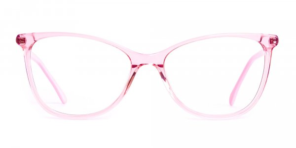 Crystal Clear or Transparent blossom and hot Pink Round Glasses Frames