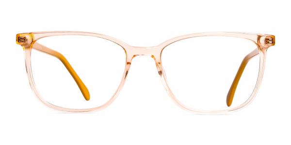Crystal Clear Orange Wayfarer Rectangular Glasses Frames