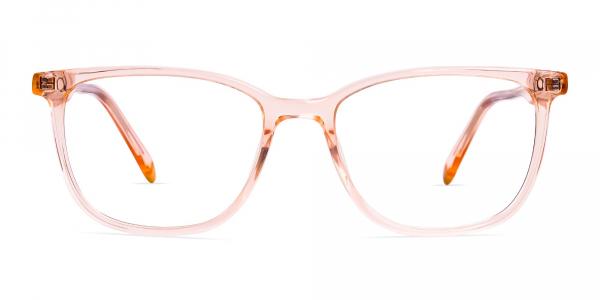 Transparent or crystal clear Orange Wayfarer and Rectangular Glasses Frames