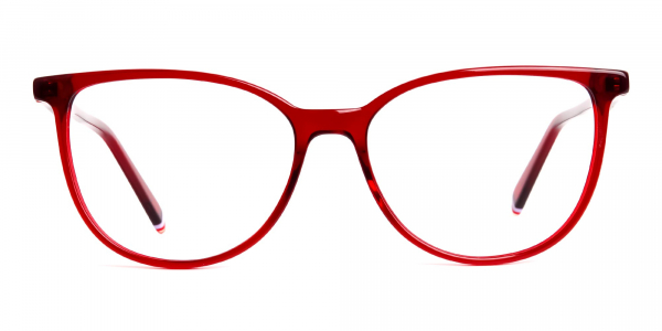 Dark Red Translucent Cat eye Glasses Frames