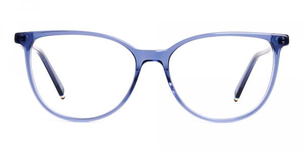 Blue Transparent Cat eye Glasses Frames