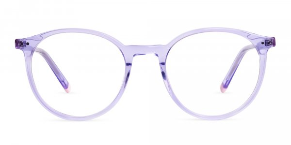 transparent and crystal clear purple round glasses frames