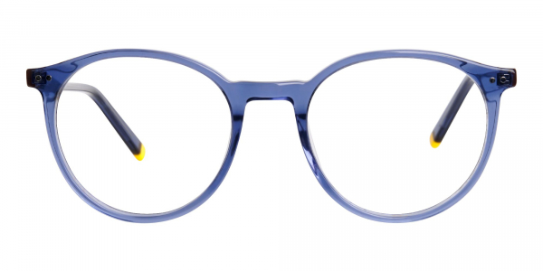 transparent and crystal clear blue round glasses frames