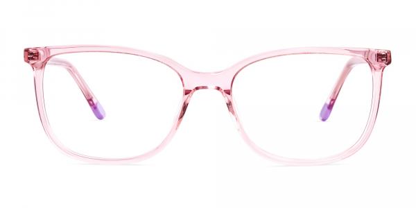 crystal clear and transparent pink wayfarer cat eye glasses frames