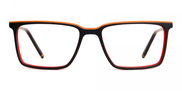 black and orange rectangular full rim glasses frames