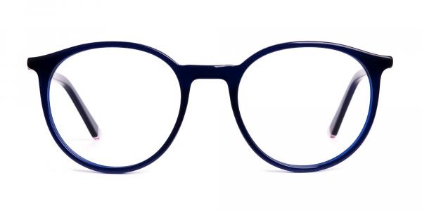 dark blue round full rim glasses frames