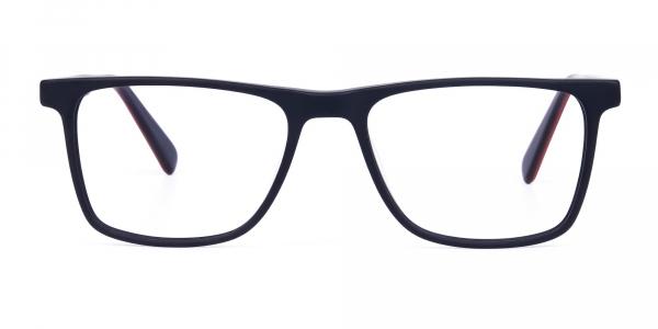 matte black rimmed rectangular glasses