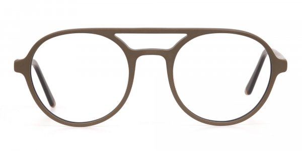 Oak Brown and Tortoise Designer Round Eyeglasses