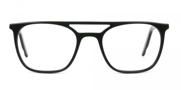 Black Aviator Spectacles in Acetate