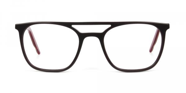 Dark Brown & Red Aviator Spectacles