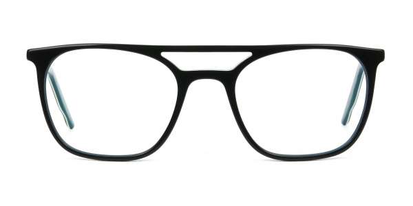 Black & Teal Aviator Spectacles