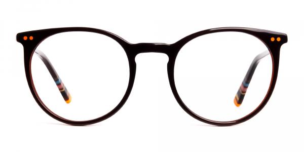 Dark Light Brown Designer Round Glasses frames