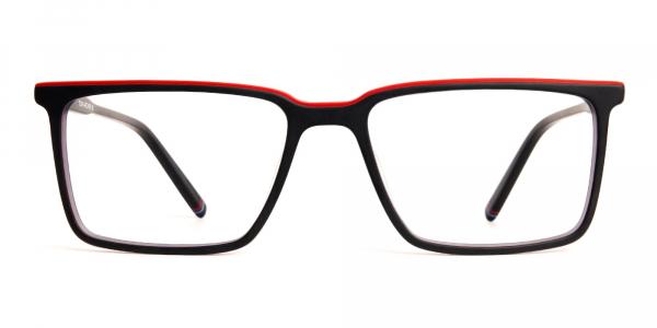 black and red rectangular glasses frames