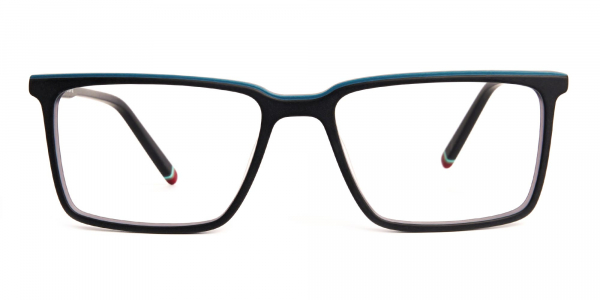 black and teal rectangular glasses frames