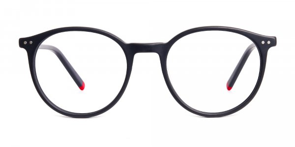 matte black and red round glasses frames