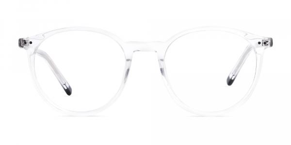 transparent and black round glasses frames