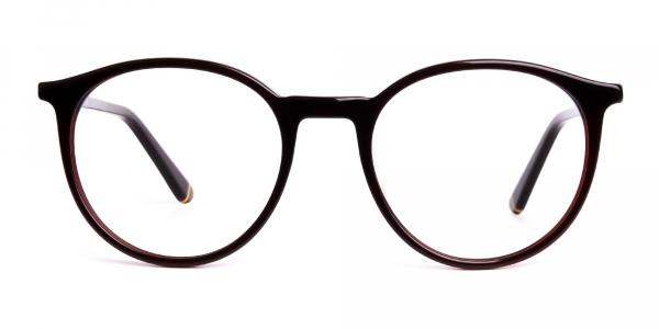brown round full rim glasses frames
