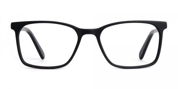 matte grey and red rectangular glasses frames