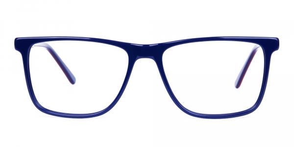 Navy Blue Red Rectangular Glasses
