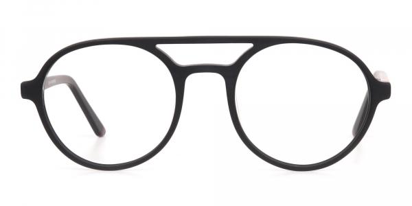 Matte Black & Red Double Bridge Glasses Frame Unisex