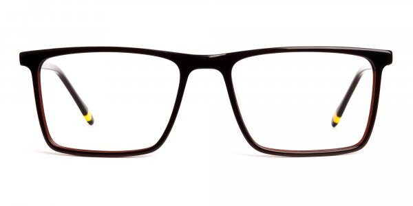classic dark brown full rim rectangular glasses frames
