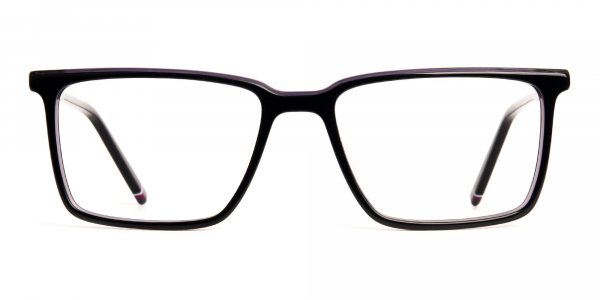 dark purple rectangular full rim glasses frames