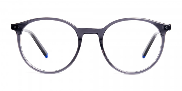 grey and blue round glasses frames