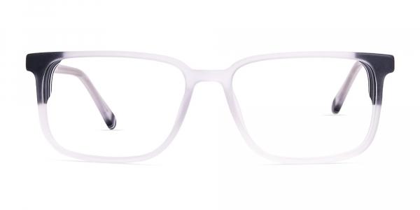 thick transparent and black rectangular glasses frames